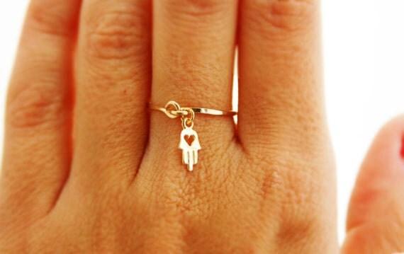 Hamsa ring - Gold ring, ANY SIZE, 14k gold filled, gold hamsa, wedding, engagement ring, thin ring, stacking ring, hammered gold ring