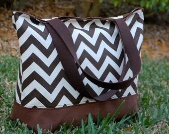 Brown Chevron Tote Bag