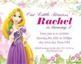 Disney Princess Invitation  - Printable  Rapunzel  Birthday Invitation
