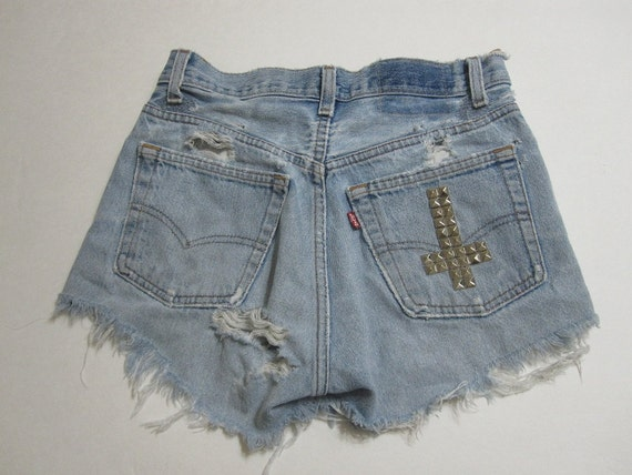vintage levi high waisted shorts // silver studs // studded cross