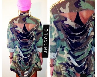 Army Jacket Ripped Studded Spiked Gold Silver Camo Camoflauge Fatigue
