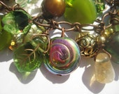 Unusual green leaves, bronzed pearl nuggets and citrine drops antiqued copper cluster bracelet