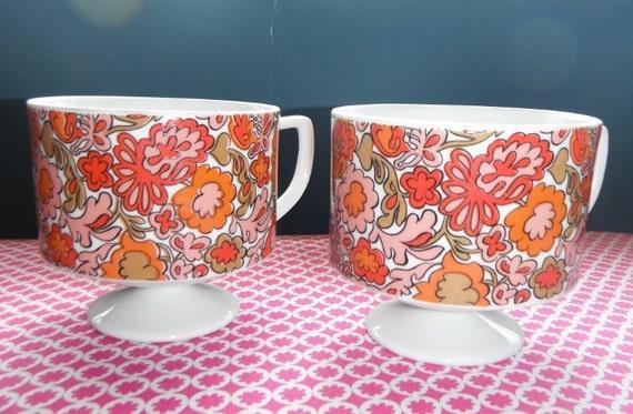 2 Paisley Flower Power Footed Pedestal coffee mug cups Pink and Orange  vintage