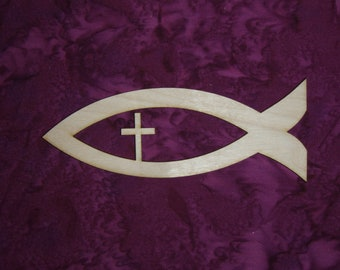 christian fish wood cut out unfinished wooden christian fish with cross
