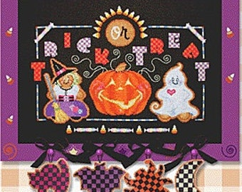 Brooke's Books Trick or Treat Ginger Babies Cross Stitch pattern w/perforated paper and beads