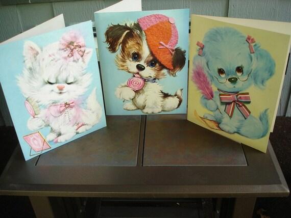 Big Eyed Pets 1970's Large Greeting Cards Set Of Three Adorable For Framing Vintage Ephemera Children's Decor