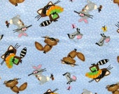 1+ YARD REMNANT - Woodland Critters blue flannel fabric - raccoons, rabbits, squirrels, mice, ladybugs and butterflies
