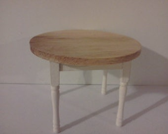 Dollhouse table miniature round dining table kitchen furniture hand painted in the colourer of your choice