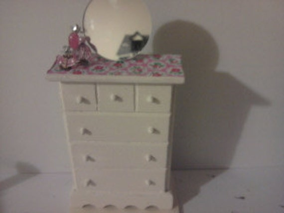 Drawers for dolls house hand painted with perfume bottles