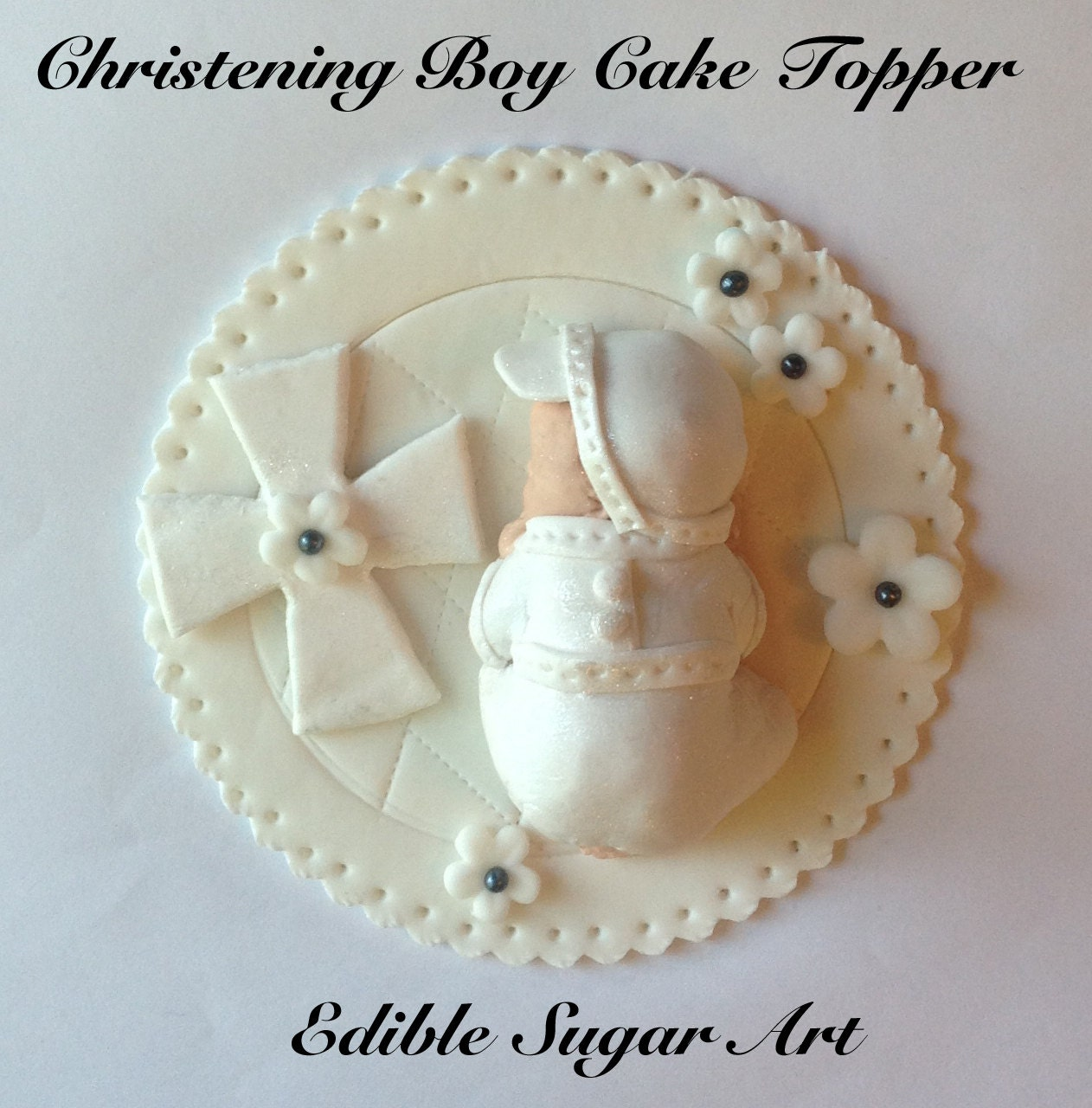 Cake Toppers Baby Christening : Gum Paste CHRISTENING BABY CAKE Topper Christening gown
