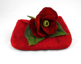 Felted Clutch Nunofelt Purse Ruby Bag Art Purse red handbag felt Nuno felt ruby fairy floral fantasy Fiber Art boho