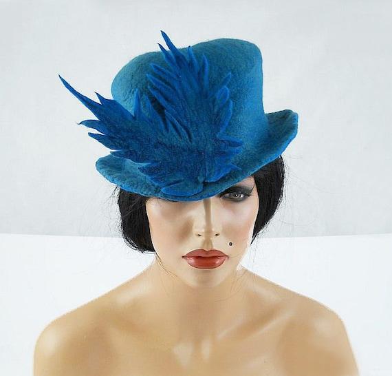 Turquoise Top Hat Felted Hat Art Hat Retro Art Hat Art Deco wool hat wearable art wool felt nunofelt nuno felt silk eco fiber art