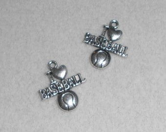 "Silver Sports ""I (heart) Baseball"" Charms"