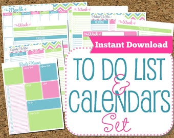 INSTANT DOWNLOAD To Do List and Calendar Set Brights-Home Organization Printables-PDF Printables-8 Documents