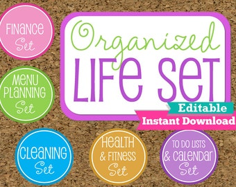 EDITABLE and INSTANT DOWNLOAD Organized Life Printables- Home Management  Binder-Organization Printables