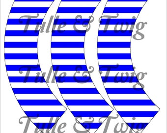 Blue & White Stripe Cupcake Wrappers Printable INSTANT DOWNLOAD