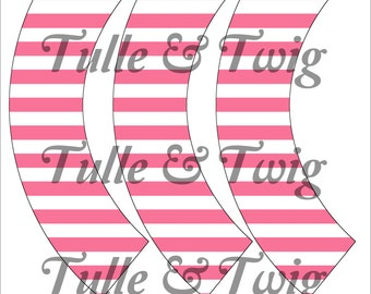 Pink & White Stripe Cupcake Wrappers Printable INSTANT DOWNLOAD