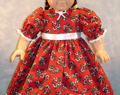 18 Inch Doll Clothes - Candy Canes and Holly on Red Christmas Dress for 18 inch dolls