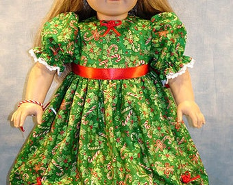 18 Inch Doll Clothes - Candy Canes and Holly on Green Christmas Dress for 18 inch dolls