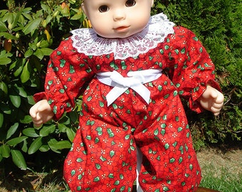 15 Inch Doll Clothes - Red Christmas Pointsettia Jumpsuit Baby for 15 inch baby dolls