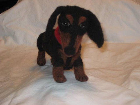 Mini Dachshund - Needled Felted, Black and Tan