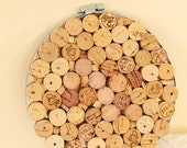 Wine Cork Trivet with Metal Band, Recycled Wine Corks from Local Bars