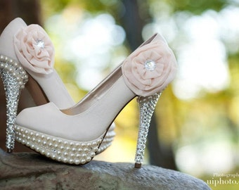 Custom designed Wedding pumps made with Swarovski crystals and pearls