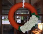 Pumpkin Wreath: Orange and Cream Yarn Wreath- 14 inches