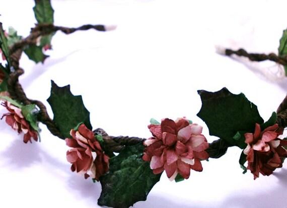 Rustic Autumn Floral Hair Crown Fall Wedding Accessory