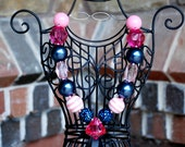 Pink and Navy Chunky Beaded Bubblegum  Necklace with Diamond Pendant for Girls and Toddlers