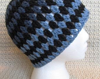 Handmade Adult Crochet Tricolor Beanie