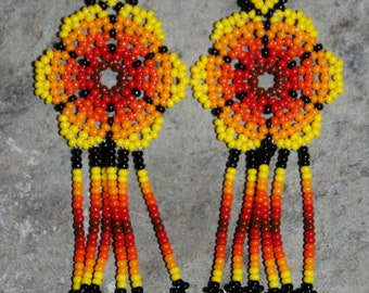 Huichol Peyote Beaded Earrings J-2