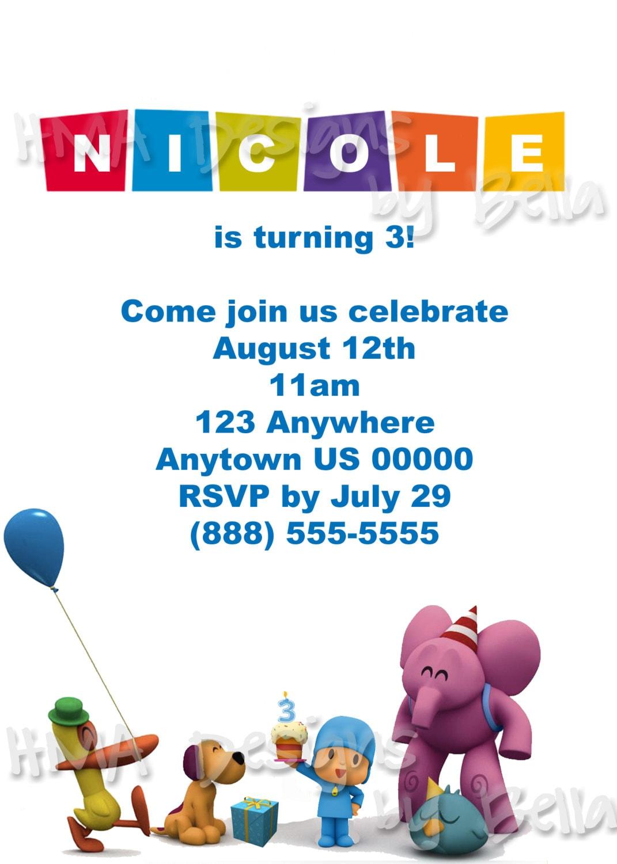 Pocoyo Birthday Invitation