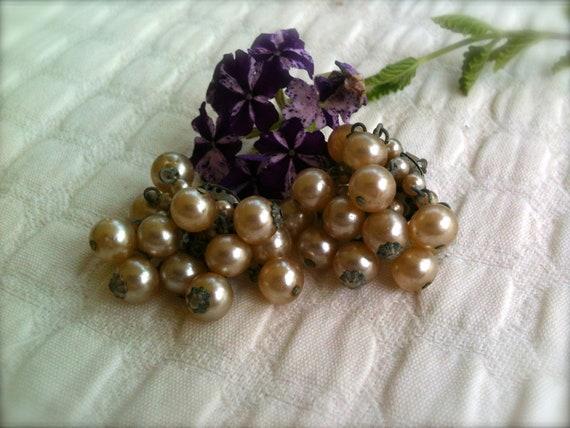 Art Deco Faux Pearl Clip-on Earrings