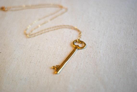 pendragon...gold tone skeleton key & 14k gold filled necklace