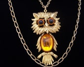 Golden Yellow Jelly belly vintage owl statement necklace