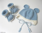 Babies set, baby booties, baby hat, baby boy set, baby girl set, hat with ears, light blue and white.Newborn gift.Newborn set.
