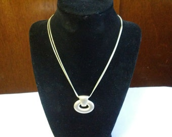 Express brushed silver metal necklace