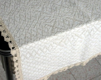 1960s Thick Woven Linen Square Table Cloth with Detailed Geometric Patterns