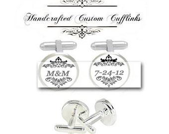 Custom bride groom husband wife monogram 2 initial name men Cufflinks groomsmen Wedding date Anniversary birthday fiancée gift cuff link