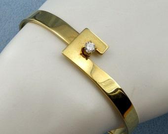 Stunning 18K Yellow Gold 1/4CT Diamond Bangle/Bracelet-7.5inch, Sku B-1046