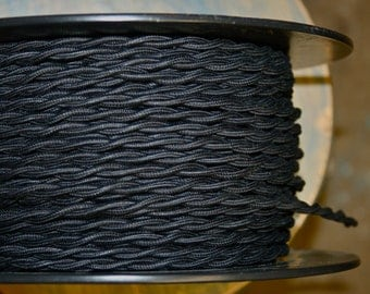6 Feet: Black Cotton Twisted Cloth Covered Wire, Vintage Style Cloth Lamp Cord, For Hanging Pendants, Trouble Lights etc