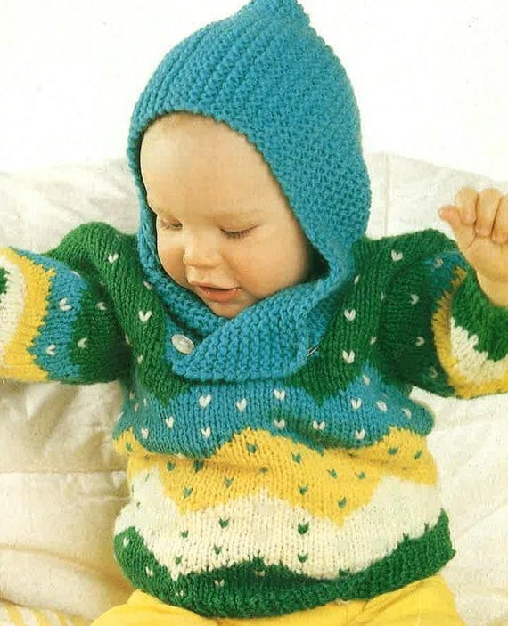 Knitting Patterns For Babies Jumpers : Babies Hooded Jumper knitting Pattern PDF No.0312 From