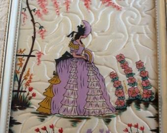 Vintage Reverse Glass Painting Crinoline Girl Hollyhocks in White Frame