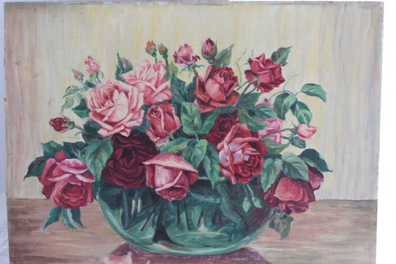 Vintage Print Painted Red Pink Roses Green Bowl Unframed
