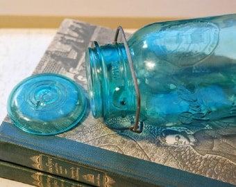 Blue Vintage Ball Mason Jar
