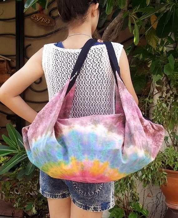 FREE SHIPPING - Handmade Tie Dye Hobo bag Shoulder bag Backpack - cotton fabric - ready to ship -