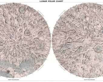 Moon globe, Astronomy print, Moon, Moon map, 104