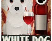 White Dog Drinking Dogs Original Art Poster Print - Personalized Dog Wall Art -11x14- Customize with Your Dog's Name - Dogs Incorporated