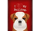 "I Love My Bulldog Magnet - I Heart My Dog - Refrigerator Magnet for Dog Lovers 2.5""x 3.5"""